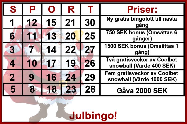 Sportbingo 22-23 december (SPELSTOPP fredag 20:45)