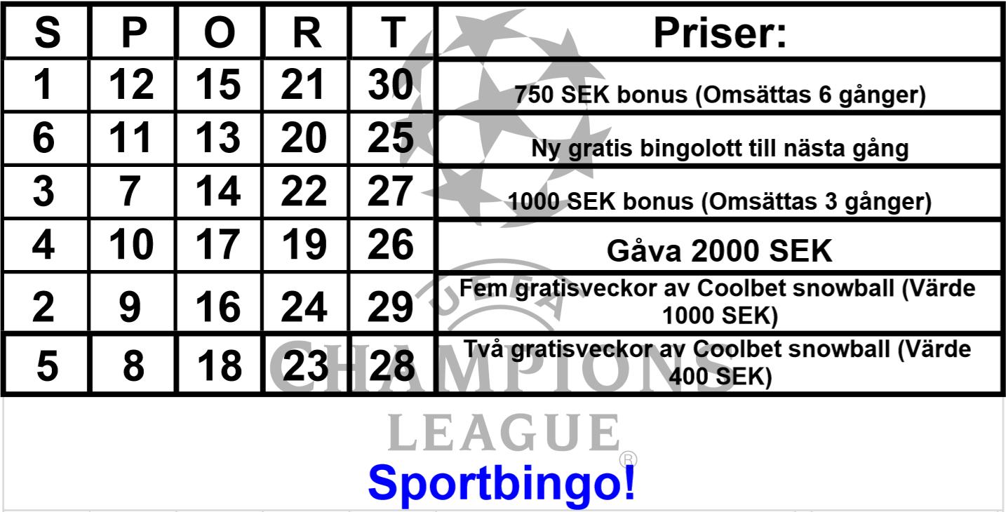 Sportbingo 6-7e mars (Spelstopp tisdag 20.45!)
