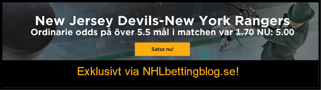 Exklusivt odds 5,00 på New Jersey Devils – New York Rangers Ö5,5 mål