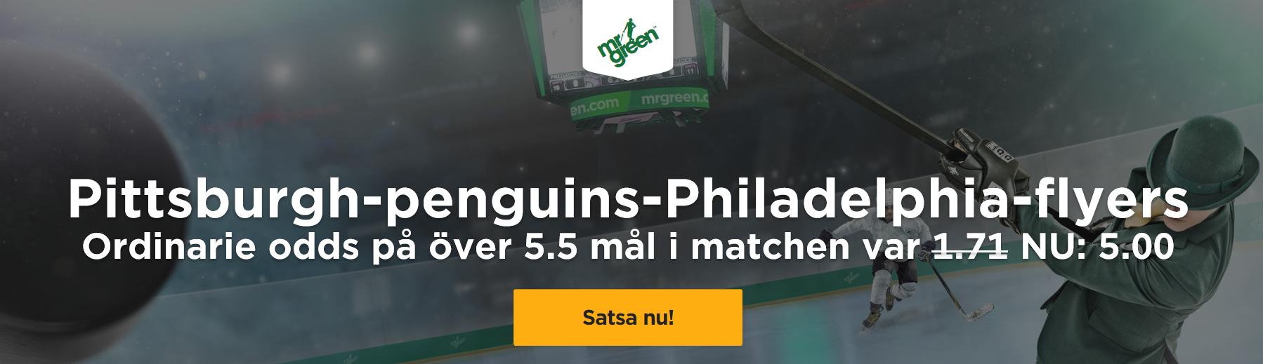 Exklusivt odds 5,00 på Pittsburgh Penguins – Philadelphia Flyers Ö5,5 mål