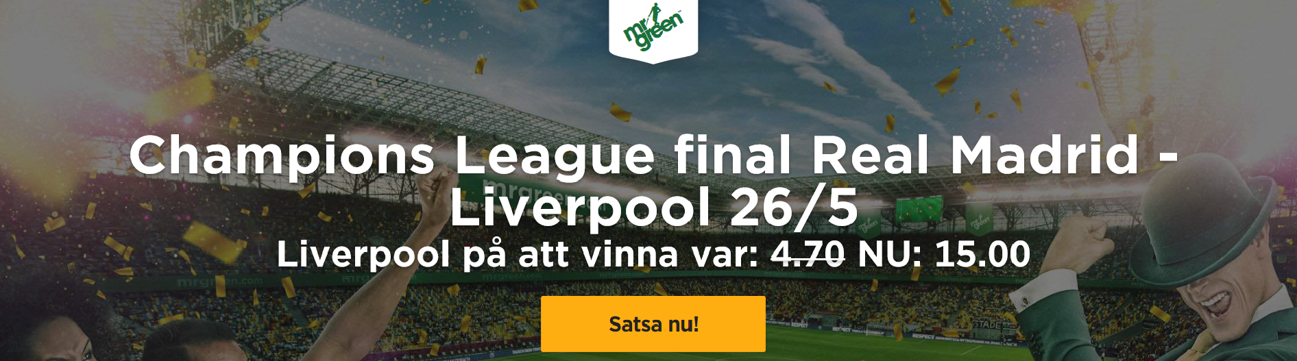 Exklusivt odds på Real Madrid – Liverpool – Liverpool vinna – 15,00