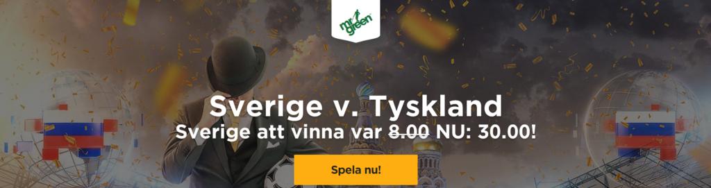 Oddserbjudande på Sverige v Tyskland – Sverige vinna – 30,00